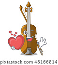 With heart violin in the cartoon music room 48166814