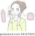 年轻的女士少女美容护肤 48167820