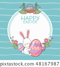 Happy easter round frame with cartoons 48167987