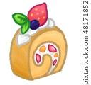 과일 롤 케이크 일러스트 48171852