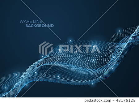 Futuristic abstract wave dot gradient line 48176128