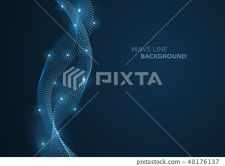 Futuristic abstract wave dot gradient line 48176137