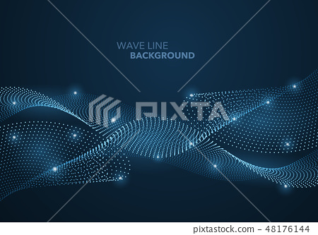 Futuristic abstract wave dot gradient line 48176144
