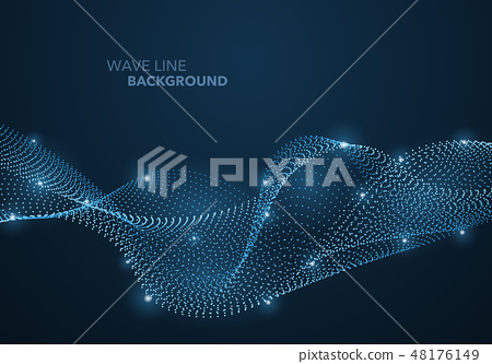 Futuristic abstract wave dot gradient line 48176149