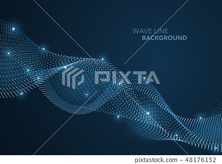 Futuristic abstract wave dot gradient line 48176152