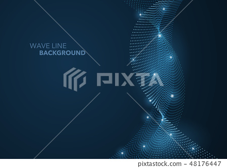 Futuristic abstract wave dot gradient line 48176447