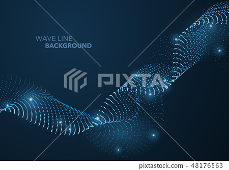 Futuristic abstract wave dot gradient line 48176563