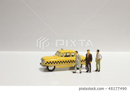 Old retro toy yellow taxi isolated  48177490