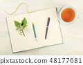 An overhead photo of an open journal with a branch with green leaves, a pencil, a pen, and a cup of 48177681