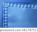 Jeans blue texture with pocket denim background. 48178752