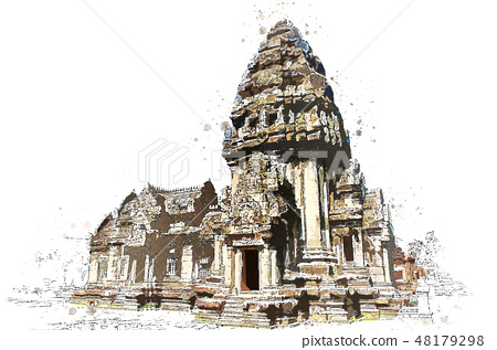 Khmer stone sanctuary in watercolor art of vector. 48179298
