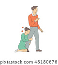 Vector desperate love woman at knees stop man 48180676