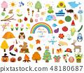 사계절 계절의 귀여운 일러스트 소재집 48180687