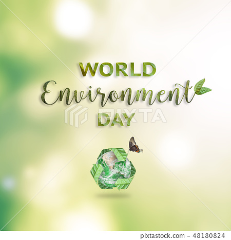 World environment day background on nature green 48180824