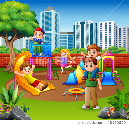 Happy family and children in the playground 48180890