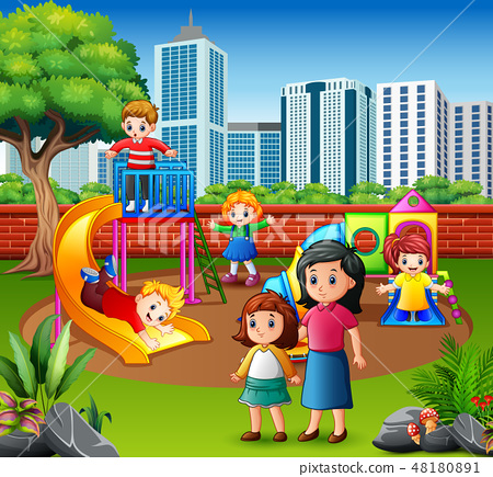 Happy family and children in the playground 48180891