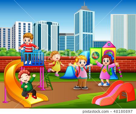 Happy kindergarten children playing 48180897