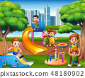 Children having fun with family in the playground 48180902