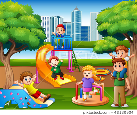 Children having fun with family in the playground 48180904