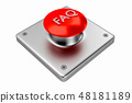 3D rendering. Red web button with FAQ. 48181189