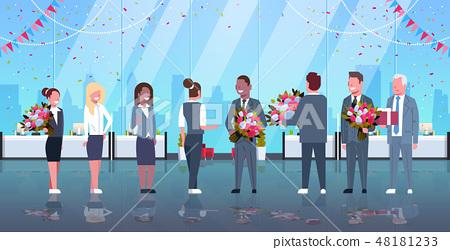businessmen congratulating businesswomen happy 8 march womens day concept mix race men giving 48181233