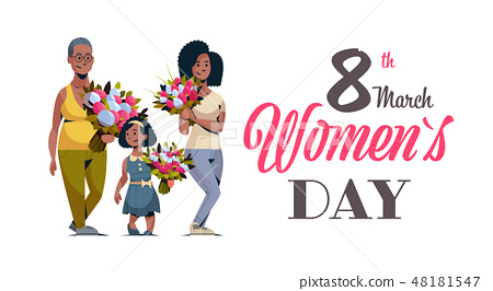 happy three generations african american women holding bouquet of flowers international 8 march day 48181547