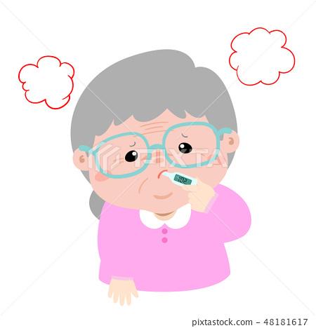 Grandmother got high temperature cartoon vector 48181617
