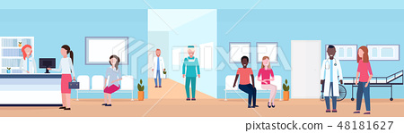 mix race patients and doctors in hospital waiting hall with reception seats and bed helthcare 48181627