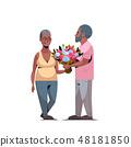 senior man presenting bouquet of flowers to elderly woman international happy womens day 8 march 48181850