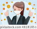 cartoon woman with hay fever 48181851