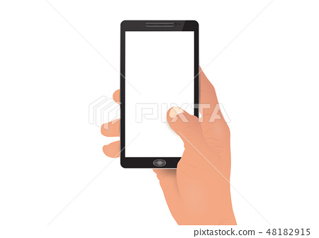 Hand holding white screen smartphone 48182915