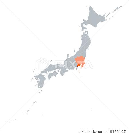가나가와 현지도와 관동 지방 48183107