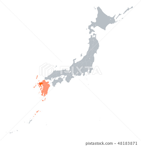 佐贺县地图和九州地区 48183871
