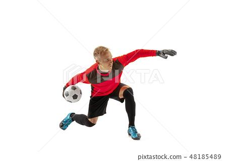 one soccer player goalkeeper man throwing ball 48185489