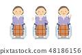 노인 여성 휠체어 전신 세트 48186156