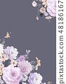 優雅的水彩手繪牡丹和玫瑰花花卉 48186167