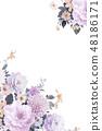 優雅的水彩手繪牡丹和玫瑰花花卉 48186171
