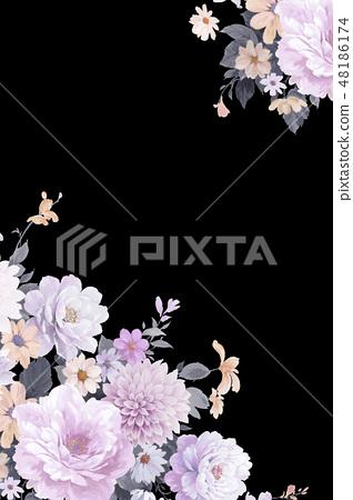 優雅的水彩手繪牡丹和玫瑰花花卉 48186174