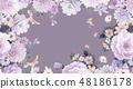 優雅的水彩手繪牡丹和玫瑰花花卉 48186178