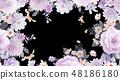 優雅的水彩手繪牡丹和玫瑰花花卉 48186180