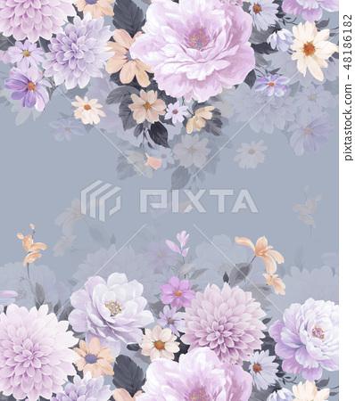 優雅的水彩手繪牡丹和玫瑰花花卉 48186182