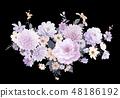 優雅的水彩手繪牡丹和玫瑰花花卉 48186192