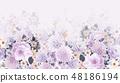 優雅的水彩手繪牡丹和玫瑰花花卉 48186194