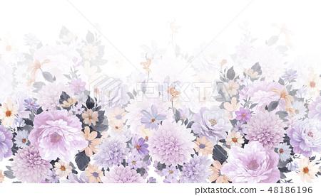 優雅的水彩手繪牡丹和玫瑰花花卉 48186196