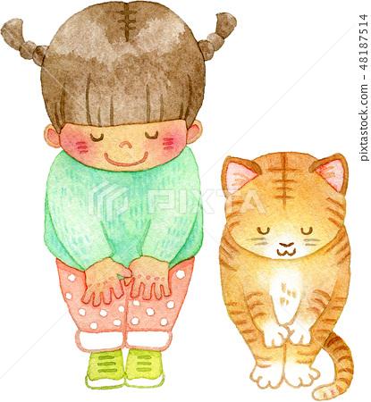 鞠躬貓和女孩 48187514