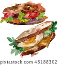 Sandwich in a watercolor style isolated set. Watercolour fast food illustration element on white 48188302
