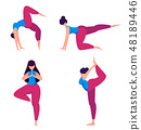 Yoga practice. Woman doing sport exercises. 48189446