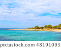 Summer vacation background with turquoise sea water bay and pine trees 48191093