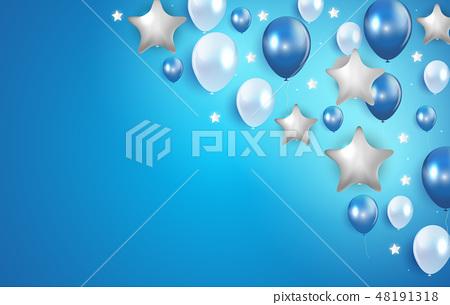 Glossy Happy Birthday Balloons Background Vector  48191318
