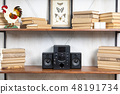 Compact music center in vintage residential loft interior on the shelf 48191734